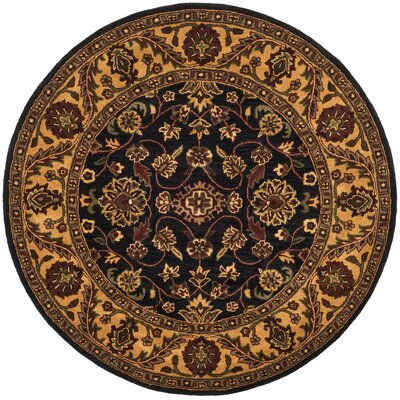 Golden Jaipur Black/Gold Area Rug Rug Size: Round 36