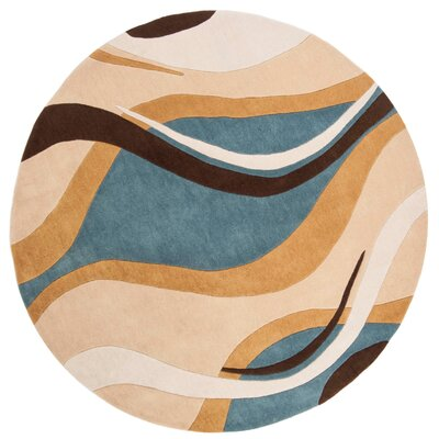 Modern Art Blue/Brown Rug Rug Size: Round 7