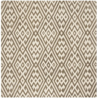 Sloan Hand-Tufted Wool Ivory Area Rug Rug Size: Square 6
