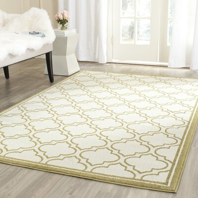 Maritza Ivory/Light Green Indoor/Outdoor Area Rug Rug Size: Rectangle 5 x 8