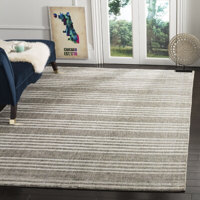 Alaina Hand- Knotted Slate Area Rug Rug Size: Rectangle 6 x 9