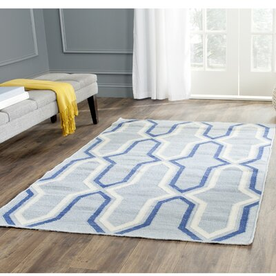 Dhurries Handmade Light Blue/Dark Blue Area Rug Rug Size: Rectangle 5 x 8