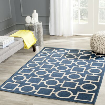 Jefferson Place Navy/Beige Indoor/Outdoor Rug Rug Size: Rectangle 27 x 5
