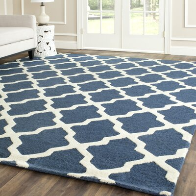 Charlenne Lattice H-Tufted Wool Navy Blue Area Rug Rug Size: Rectangle 4 x 6
