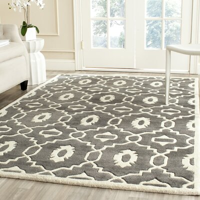 Wilkin Moroccan Hand-Tufted Wool Dark Gray/Ivory Area Rug Rug Size: Rectangle 5 x 8