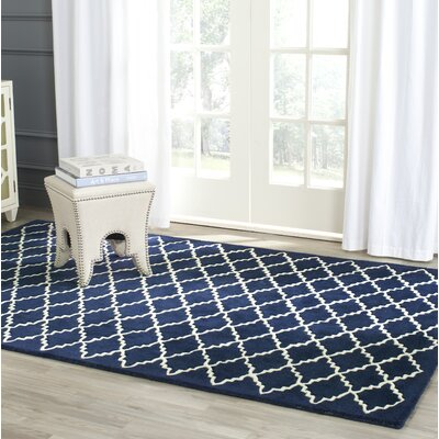 Wilkin Hand-Tufted Wool Dark Blue Area Rug Rug Size: Rectangle 5 x 8