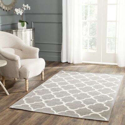 Dhurrie Hand-Woven Wool Light Gray/Ivory Area Rug Rug Size: Rectangle 6 x 9