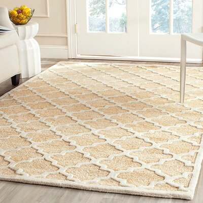 Precious Hand-Tufted Cotton Beige Area Rug Rug Size: Rectangle 5 x 8