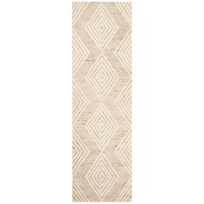 Pizano Hand-Woven Wool Beige/Ivory Area Rug Rug Size: Runner 23 x 8