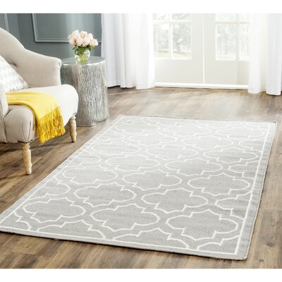 Dhurries Hand-Woven Wool Gray/Ivory Area Rug Rug Size: Rectangle 6 x 9