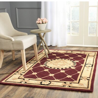 Naples Hand-Tufted Wool Burgundy/Ivory Area Rug Rug Size: Rectangle 4 x 6