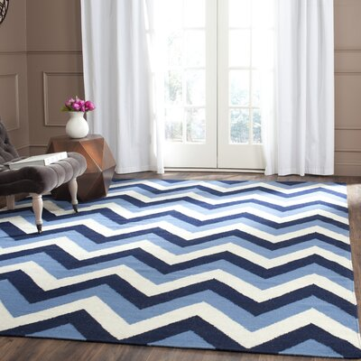 Dhurries Hand-Woven Navy/Light Blue Area Rug Rug Size: Rectangle 4 x 6