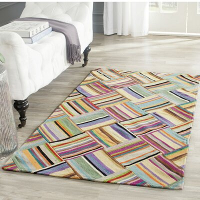 Straw Patch Hand-Woven Wool Pink/Blue Area Rug Rug Size: Rectangle 6' x 9'