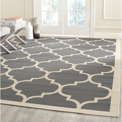 Octavius Anthracite/Beige Indoor/Outdoor Area Rug Rug Size: Rectangle 53 x 77