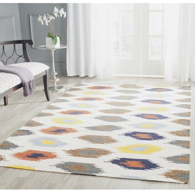 Dhurries Cotton/Wool Ivory Area Rug Rug Size: Rectangle 4 x 6