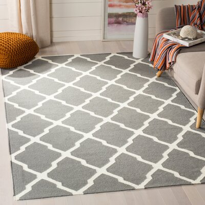 Dhurries Wool Gray/Ivory Area Rug Rug Size: Rectangle 3 x 5