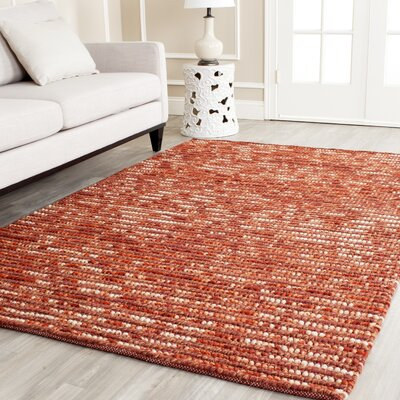 Makhi Hand-Knotted Rust Area Rug Rug Size: Rectangle 3 x 5
