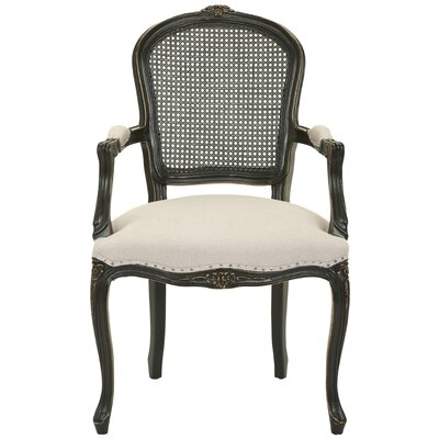 Cindy Arm Chair with Nailheads in Black Antique / Beige Linen