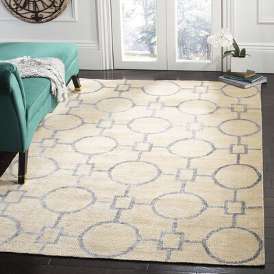 Stone Wash Hand-Woven Cotton Beige Area Rug Rug Size: Rectangle 5 x 8