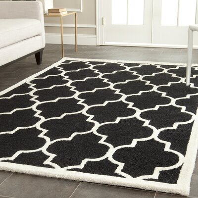 Parker Lane Hand-Tufted Wool Black/Ivory Area Rug Rug Size: Rectangle 6 x 9