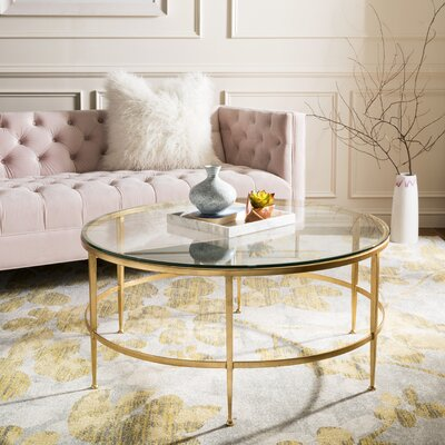 Edmund Coffee Table Table Base Color: Antique Gold Gilt