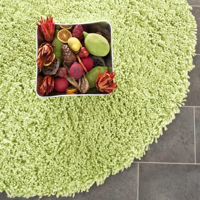 Shag Lime Area Rug Rug Size: Round 4'