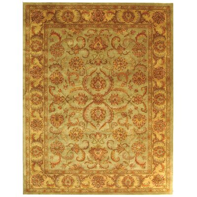 Heritage Green/Gold Rug Rug Size: 12 x 18
