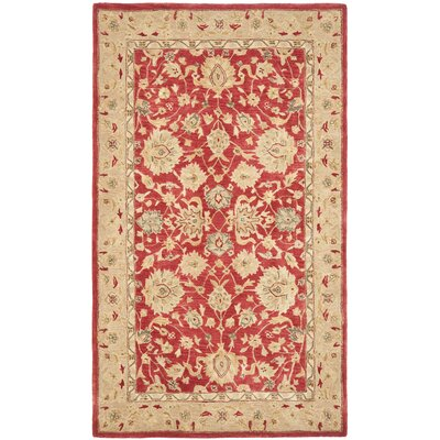Anatolia Hand-Tufted/Hand-Hooked  Red/Ivory Area Rug Rug Size: Rectangle 4 x 6