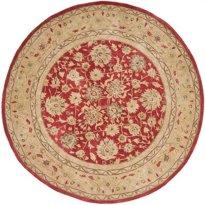 Anatolia Hand-Tufted/Hand-Hooked  Red/Ivory Area Rug Rug Size: Round 6