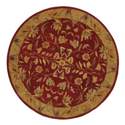Anatolia Burgundy/Gold Area Rug Rug Size: Round 6