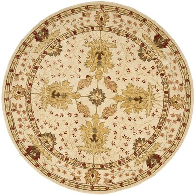 Anatolia Cream/Red Area Rug Rug Size: Round 8