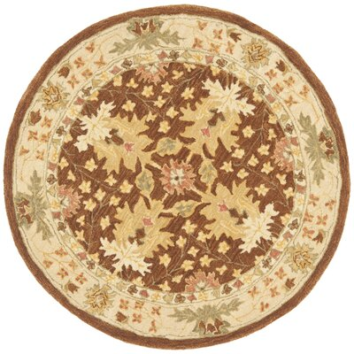 Anatolia Hand-Woven Wool Brown/Cream Area Rug Rug Size: Round 4