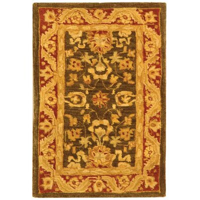 Anatolia Charcoal/Red Area Rug Rug Size: 2 x 3