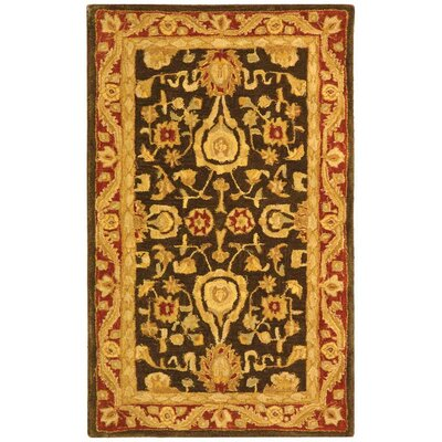 Anatolia Charcoal/Red Area Rug Rug Size: 3 x 5
