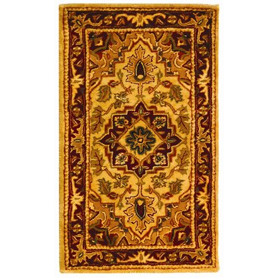 Classic Light Gold / Red Area Rug
