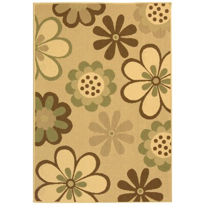 Courtyard Natural Brown/Olive Outdoor Rug Rug Size: 4' x 5'7