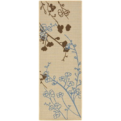 """Courtyard Natural Brown/Blue Outdoor Rug Rug Size: Runner 2'4"""" x 6'7"""