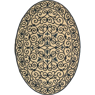 Chelsea Ivory/Blue Iron Gate Rug Rug Size: Oval 46 x 66