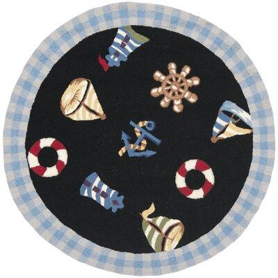 Chelsea  Black / Blue Marina Novelty Area Rug Rug Size: Round 3'