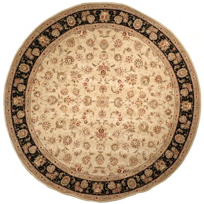 Persian Court Beige/Black Rug Rug Size: Round 4