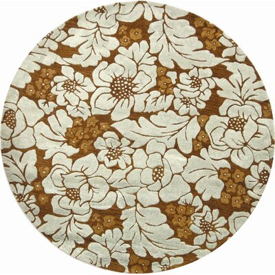 Soho Chocolate/Light Blue Area Rug Rug Size: Round 6
