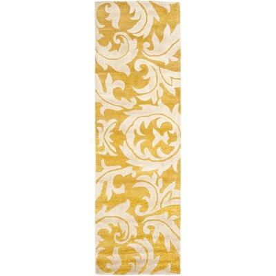 Soho Gold / Ivory Rug Rug Size: Runner 26 x 8