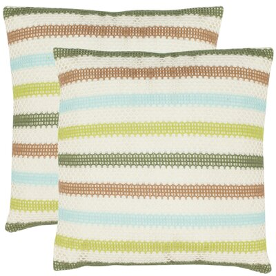 Leslie Throw Pillow Color: Cream/ Blue/Green