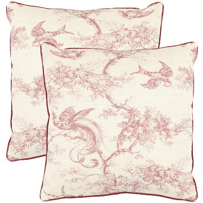 Norah Cotton Toile Throw Pillow Color: Raspberry