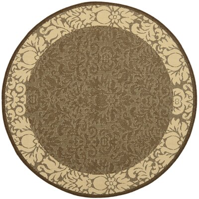 Marland Chocolate/Natural Outdoor Area Rug Rug Size: Round 67