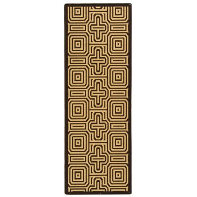 Courtyard Chocolate/Natural Outdoor Rug Rug Size: Runner 2'4
