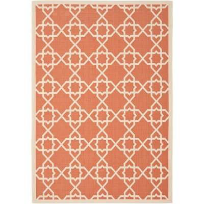 Courtyard Terracotta / Beige Indoor/Outdoor Rug Rug Size: 27 x 82