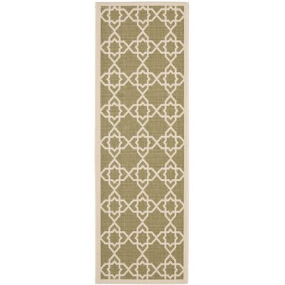 Bexton Green / Beige Indoor/Outdoor Rug Rug Size: Runner 24 x 911