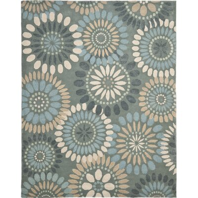 Jardin Grey & Blue Floral Area Rug Rug Size: Rectangle 9 x 12