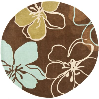 Modern Art Brown/Multi Rug Rug Size: Round 7